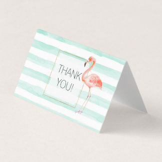 Mint Watercolor Stripes Pink Flamingo Thank you Card