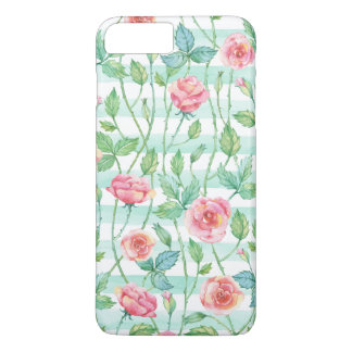 Mint Watercolor Stripes Pink Roses iPhone 8 Plus/7 Plus Case