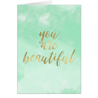 Mint Watercolor You are Beautiful Card