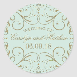 Mint Wedding Monogram | Antique Gold Flourish Classic Round Sticker