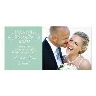 Mint Wedding Photo Thank You Cards Picture Card