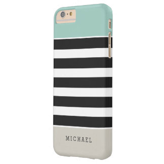 Mint White Black Beige Stripes - Simple Elegant Barely There iPhone 6 Plus Case