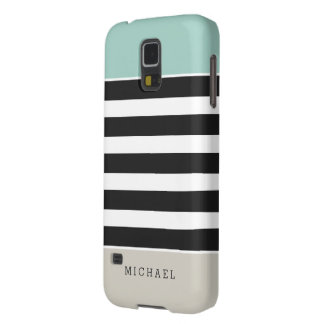 Mint White Black Beige Stripes - Simple Elegant Case For Galaxy S5