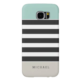 Mint White Black Beige Stripes - Simple Elegant Samsung Galaxy S6 Cases