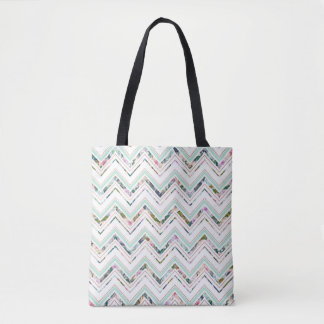 Mint & White Chevron & Floral Custom Tote Bag