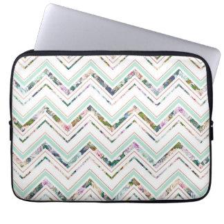 Mint & White Chevron & Floral Laptop Sleeve Case