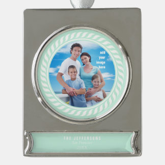 Mint White Color Nautical Picture Frame Silver Plated Banner Ornament