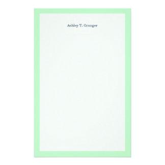 Mint White Framed Initial Monogram Customised Stationery