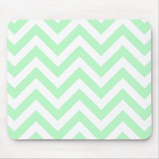 Mint White Large Chevron ZigZag Pattern Mouse Pad