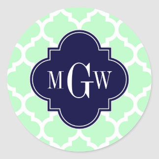 Mint, White Moroccan #5 Navy 3 Initial Monogram Classic Round Sticker