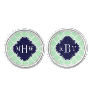 Mint, White Moroccan #5 Navy 3 Initial Monogram Cuff Links