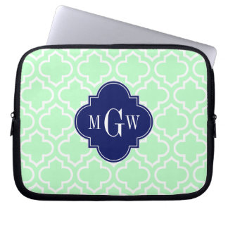 Mint White Moroccan #6 Navy 3 Initial Monogram Computer Sleeves