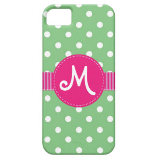 Mint & White Polka Dots Ribbon Personalizable Barely There iPhone 5 Case