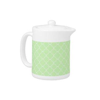 Mint White Quatrefoil Pattern Teapot