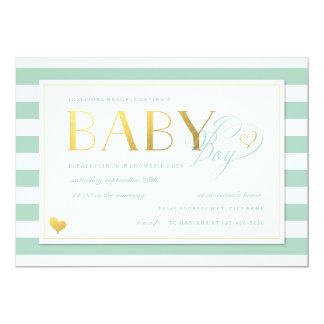 Mint & White Stripe Baby Boy Shower Gold Accents 13 Cm X 18 Cm Invitation Card
