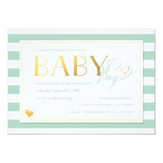 Mint & White Stripe Baby Boy Shower Gold Accents Card