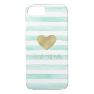 Mint White Watercolor Stripes Gold Heart iPhone 8/7 Case