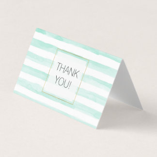 Mint White Watercolor Stripes Thank you Card