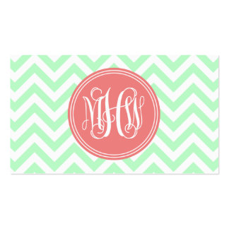 Mint Wht LG Chevron Lt Coral Circle 3I Monogram Pack Of Standard Business Cards
