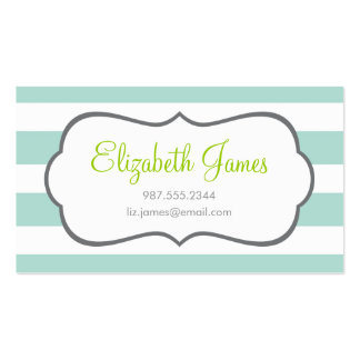 Mint Wide Stripe Business Card Templates