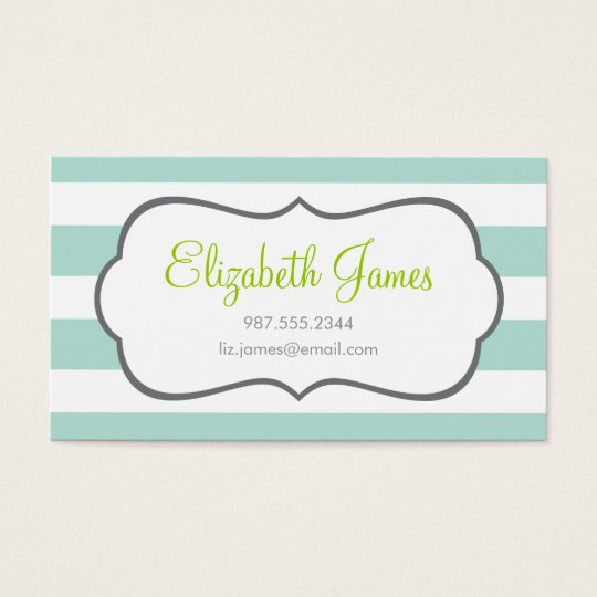 Mint Wide Stripe Business Card