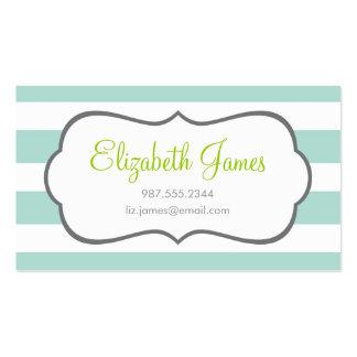 Mint Wide Stripe Business Card Templates