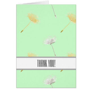 Mint Wishes Dandelion Flowers Thank You Note Card