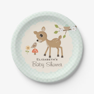 Mint Woodland Deer Baby Shower 7 Inch Paper Plate