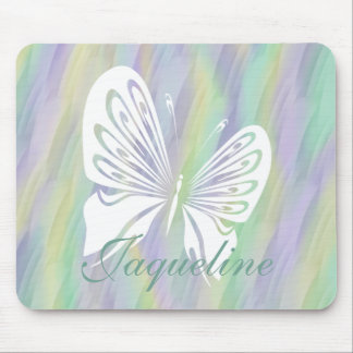 Mint Yellow Lilac Butterfly Mouse Mat