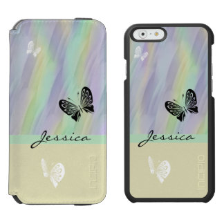 Mint Yellow Lilac with Butterflies Incipio Watson™ iPhone 6 Wallet Case