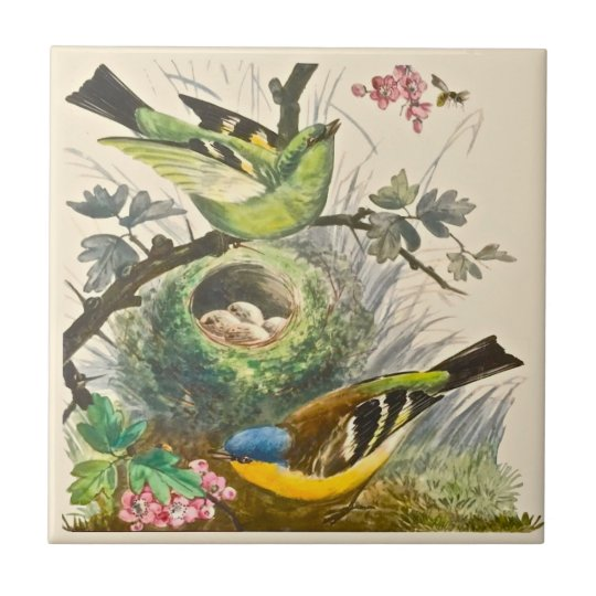 Minton Hand Painted Birds Berries Late 1800s Repro