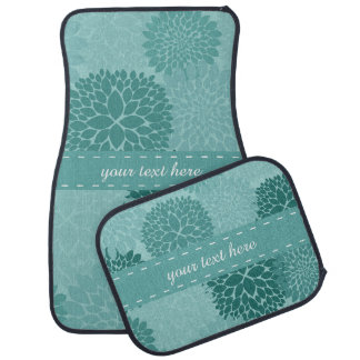 Minty Flowers Car Mat
