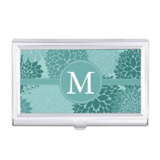 Minty Flowers Monogram Business Card Holder