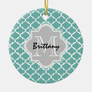 Minty Green and Gray Moroccan Quatrefoil Monogram Christmas Ornament