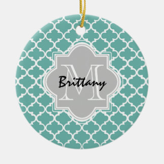 Minty Green and Gray Moroccan Quatrefoil Monogram Round Ceramic Decoration