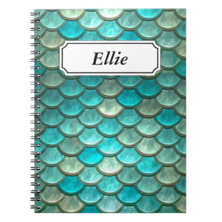 Minty Green Mermaid fish scales pattern Notebooks