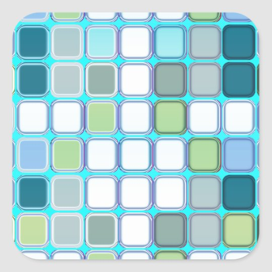 Minty tiles square sticker