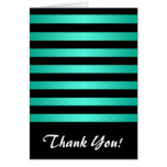 Minty Turquoise and Black Stripes Pattern Cards