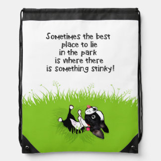 Mirabelle the boston terrier STINKY GRASS backpack