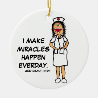 Miracle Nurse Cartoon Christmas Ornament