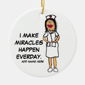 Miracle Nurse Cartoon Round Ceramic Decoration