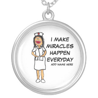 Miracle Nurse Cartoon Silver Plated Necklace