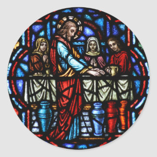 Miracle of Jesus in Cana Stained Glass Art Round Sticker