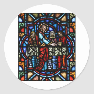 Miracle of Jesus in Cana Stained Glass Art Round Stickers