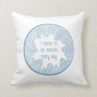 Miracles Blue Crystal Geode Throw Pillow