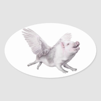 Miracles Possibility Joy Flying Pigs When Pigs Fly Oval Sticker