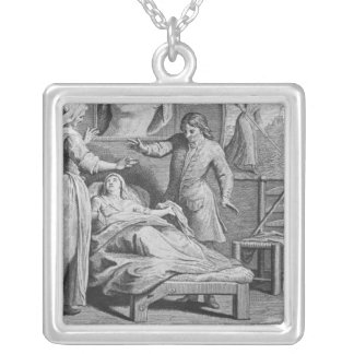 Miraculous healing of a blind woman silver plated necklace