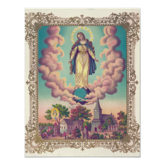 Miraculous Manifestations of the Virgin Mary 1879 11 Cm X 14 Cm Invitation Card