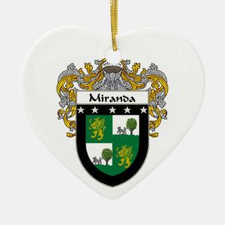 Miranda Coat of Arms/Family Crest Ceramic Heart Decoration