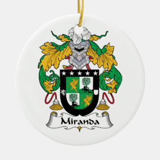 Miranda Family Crest Double-Sided Ceramic Round Christmas Ornament